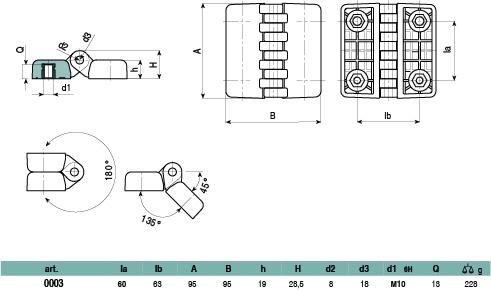 0003 - Cerniera piatta con inserto con foro filettato M10