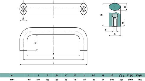0001 - Maniglia in tecnopolimero